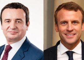 Kurti flet në telefon me Macronin, e falënderon për deklaratën franko-gjermane kundër mocionit